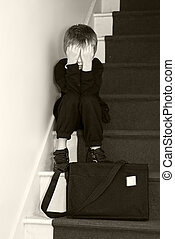 压抑, 学校, 楼梯。, 孩子, 坐