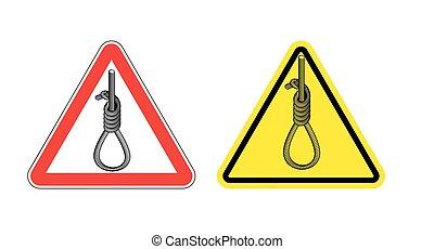 厚く, hanging.., 黄色, 死, サイン, hangmans, 危険, 道, hangman., penalty., 印, 警告, 危険, 赤, 注意, triangle., ロープ, ループ, 輪縄, hanging.