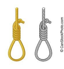 厚く, loop., 輪縄, node., 装置, 掛かること, ロープ, 隔離された, 白い背景, hangmans, rope., hanging., 死, hangman., 実行, 罰