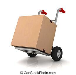 厚紙箱, 以及, 手卡車, 3d, 插圖