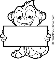 厚顏無恥, 猴子, 字, 在, 黑色, an