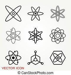 原子, 黒, フィクション, アイコン, 科学, アイコン