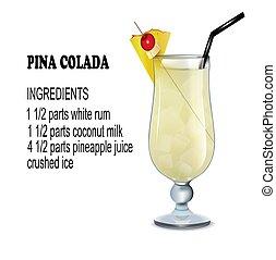 原料, イラスト, colada, ガラス, カクテル, pina