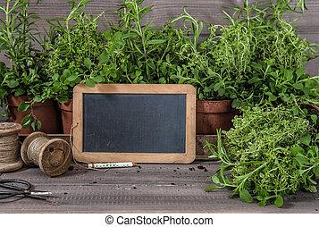 原料, 庭, scissors., ハーブ, 黒板, 食物