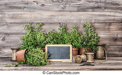 原料, 食物, 型, ハーブ, decorations., 家の台所