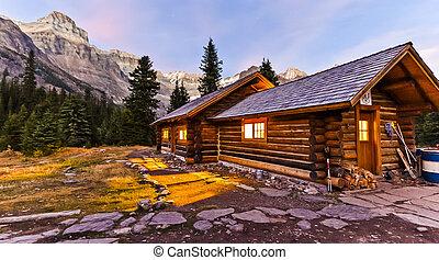 原木小屋, 在, 遙遠, 荒野