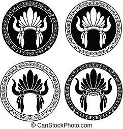 原産のインド人, アメリカ人, 頭飾り