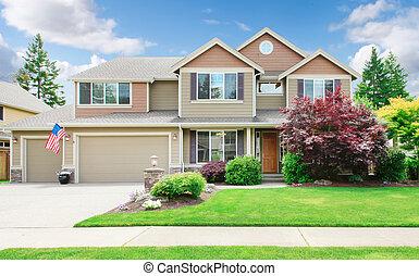 原色嗶嘰, 大, 豪華, 房子, 由于, 夏天, 風景。