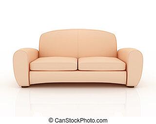 原色嗶嘰, 沙發, 被隔离, 上, a, 白色 背景