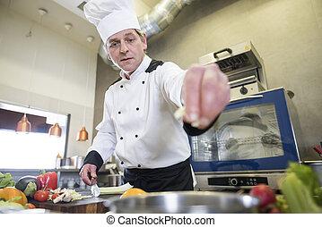 厨师, 角度, 低, 工作, 察看