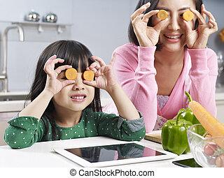 厨房, 女儿, 亚洲人, 妈妈