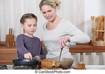 厨房, 女儿, 妈妈