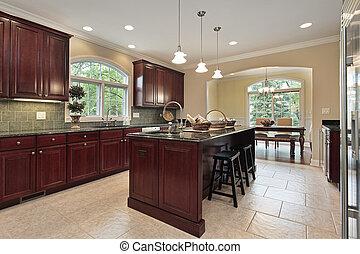 厨房, 带, 樱桃, 树木, cabinetry