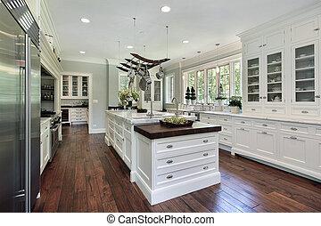 厨房, 带, 白色, cabinetry