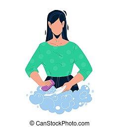 厨房, 矢量, 洗涤菜, 肥皂, 沉落