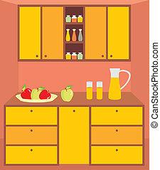 厨房, furniture., interior.