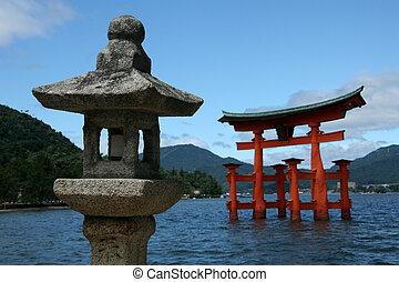 厳島, 宮島, 宮島, -, 神社, 門, 日本