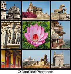 去, 印度, 拼貼藝術, -, 背景, 由于, 旅行, 相片, ......的, 印第安語, 界標