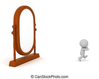 去, 字, 大, 跑, 鏡子, 3d