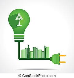 去, 綠色, 能量, 概念