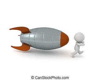 去, 跑, 3d, 字, 火箭