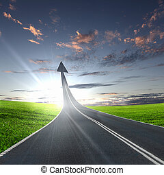 去, 高速公路, 路, 向上
