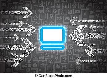 去, pictogram, 顏色, 媒介, 箭, 發光, 電腦