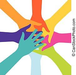 参加しなさい, カラフルである, 人々, 多数, 手, チームワーク