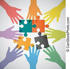 参加しなさい, カラフルである, 人々, 多数, 手, チームワーク, 問題, sloving