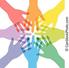 参加しなさい, カラフルである, 人々, 多数, 手, チームワーク, 透明度