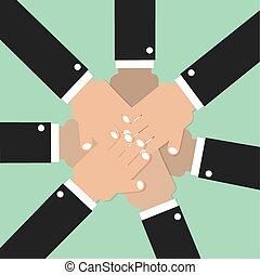 参加しなさい, チームワーク, 精神, 一緒に, 手