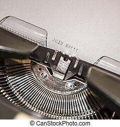 参加しなさい, テキスト, 古い, 私達, タイプライター