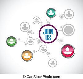 参加しなさい, ネットワーク, イラスト, 接続, デザイン, 私達