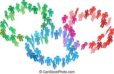 参加しなさい, ビジネス 人々, 合併しなさい, グループ, 社会