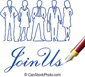参加しなさい, ビジネス 人々, 私達, ペン, 招待
