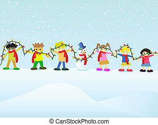 参加しなさい, 子供, グループ, クリスマス