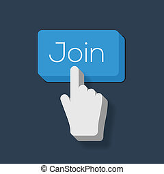 参加しなさい, 形づくられた, ボタン, 私達, 手, カーソル