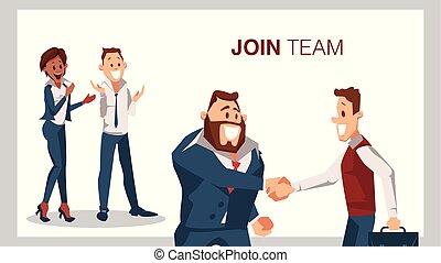 参加しなさい, 成功した, 振動, 手, 仕事, チーム, インタビュー, 人