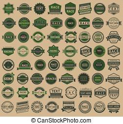 參加比賽, 徽章, -, 葡萄酒, 風格, 大, 綠色, 集合