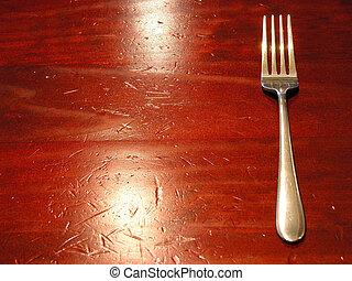 叉子, 上, a, 好, 被穿, 桌子