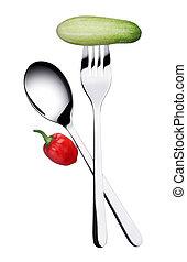 叉子, 同时,, 勺子