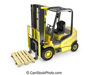 叉子, 扁平工具, 舉起, 黃色, 卡車
