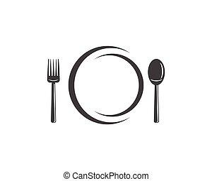 叉子, 用板固定匙, 圖象, 矢量, 插圖