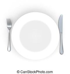 叉子, 盤子, 确定, 地方, 刀, 3d