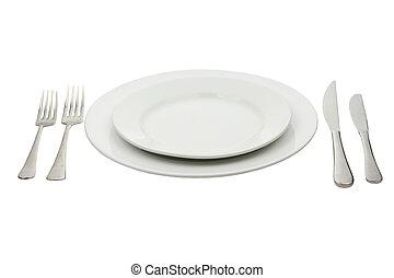 叉子, 盤子,  &,  high-gloss, 地方, 确定, 刀
