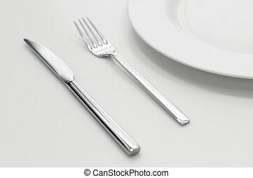 叉子, 确定, 地方, 刀, 盤子
