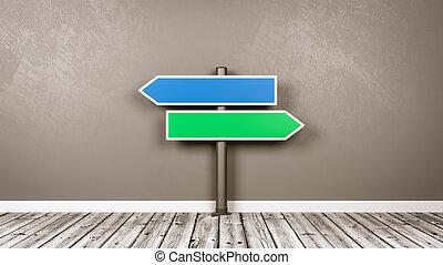 叉子, 箭, 路標, 在, the, 房間, 由于, 模仿空間