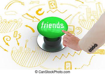 友人, に対して, ディジタル方式で生成された, 緑, 押しボタン