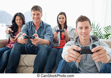 友人, ゲーム, 間, 見る, グループ, カメラ, 遊び