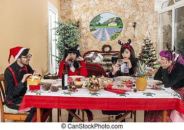 友人, テーブル, グループ, クリスマス